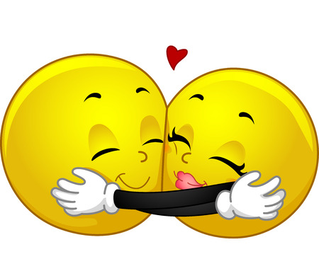 Mascot Illustration of a Pair of Smileys Hugging