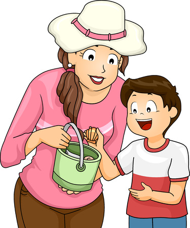 picking: Illustration of a Little Boy Picking Seashells with His Mom