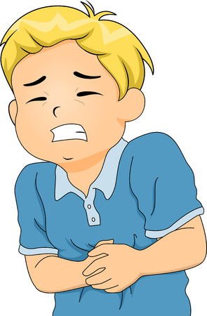 Illustration of a Little Boy Hunched Up from Stomach Pains Zdjęcie Seryjne
