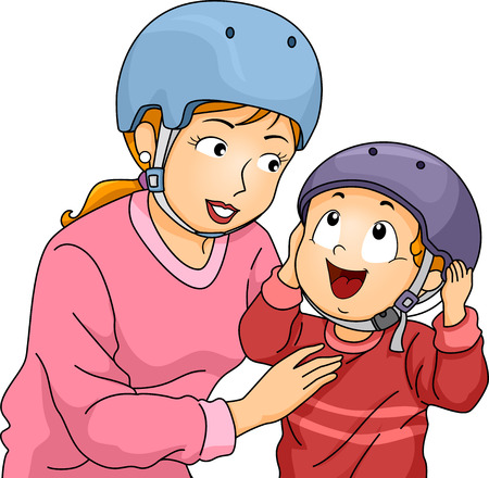 safety gear: Illustration of a Mother Helping Her Little Son to Put on His Helmet