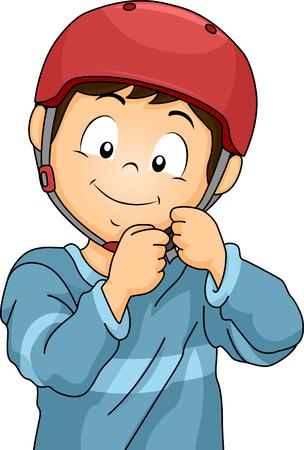 helmet bike: Illustration of a Little Boy Adjusting the Straps of His Helmet
