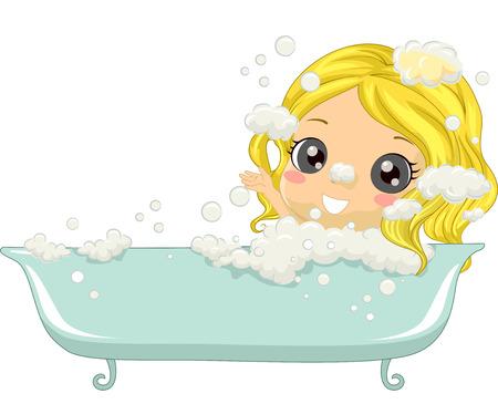cartoon kid: Illustration of a Little Girl Enjoying a Bubble Bath Stock Photo