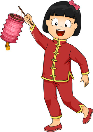 chinese dress: Illustration of a Little Girl Dressed in a Chinese Costume Carrying a Paper Lantern
