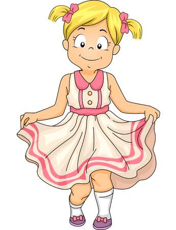 Ilustración de una niña haciendo una reverencia