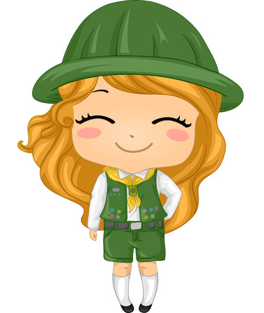 girl scout: Illustration of a Little Girl Wearing a Girl Scout Costume Stock Photo