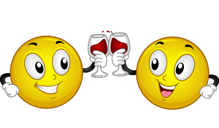 clinking: Mascot Illustration of a Pair of Smileys Making a Toast