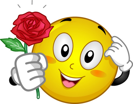 wooing: Mascot Illustration of an Embarrassed Smiley Giving a Red Rose