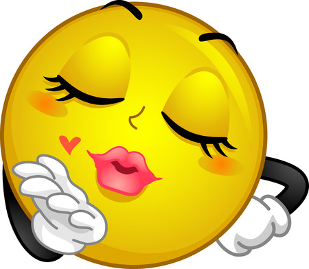 Mascot Illustration of a Smiley Blowing a Kiss Stock Photo