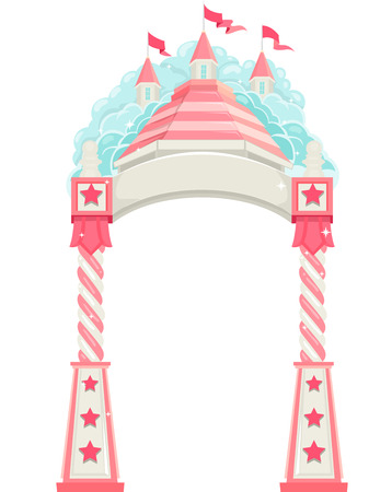 enchanted: Illustration of a Fancy Welcome Arch in an Enchanted Castle
