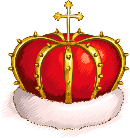 bottom: Illustration of a Golden Crown with a Cross on Top and a Rim of White Fur at the Bottom