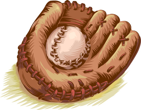 gritty: Gritty Illustration of a Baseball Glove and Ball