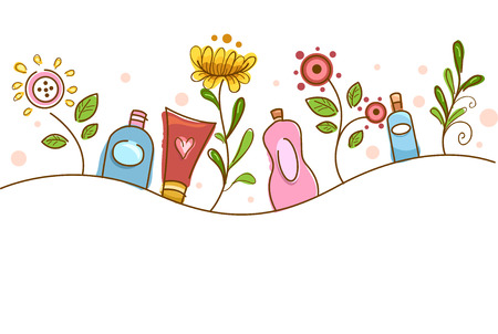 typically: Illustration of Flowers Typically Used for Organic Cosmetic Products Stock Photo