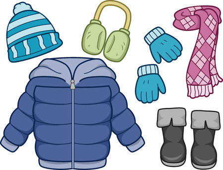 seasonal clothes: Illustration of Different Items Commonly Worn on Winter
