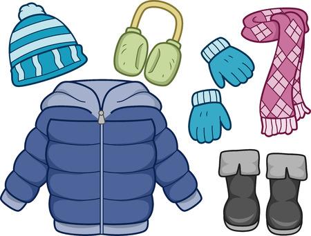 Ilustrace různých položek běžně nosí v zimě Reklamní fotografie