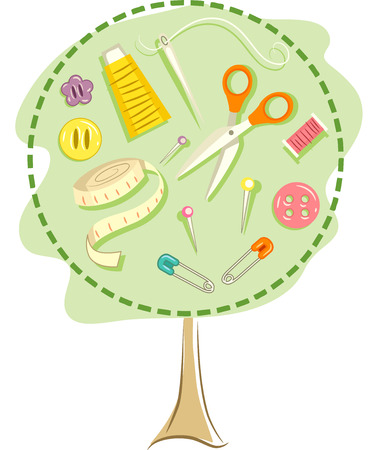 dressmaking: Illustration of a Tree Frame with Various Sewing Tools Inside Stock Photo