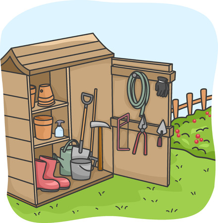shed: Illustration of an Open Shed Full of Gardening Tools