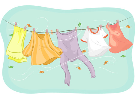 hang: Illustration of Clothes Hanging from a Clothesline Being Swayed by the Wind