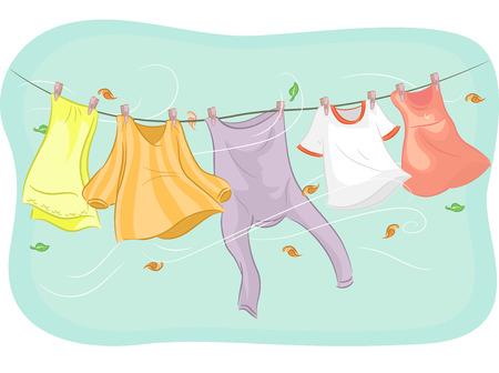 lavanderia: Ilustración de ropa que cuelgan de un tendedero siendo agitadas por el viento