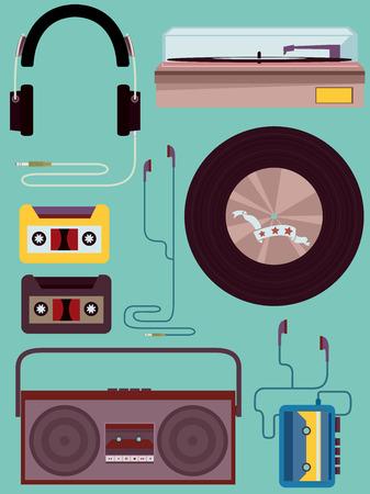 casette: Vintage Style Illustration of Different Music Elements
