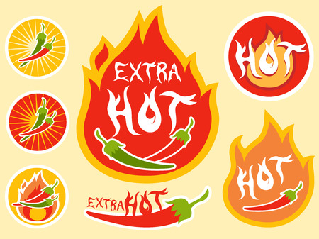 hot sauce: Illustration of Ready to Print Labels for Hot Sauce Bottles