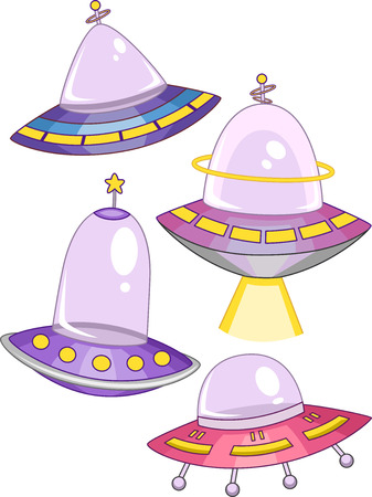 spaceship: Illustration of Spaceships with Different Colors and Shapes Stock Photo