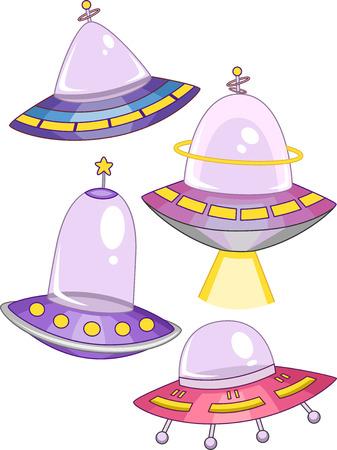 platillo volador: Ilustración de Naves Espaciales con diferentes colores y formas