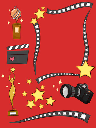 statuette: Illustration of Elements Commonly Associated with Celebrities Stock Photo