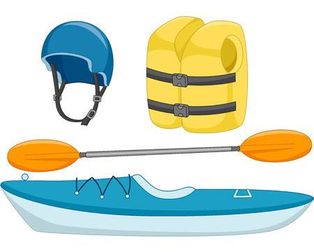 kayaking: Illustration of Different Objects Used in Kayaking Stock Photo