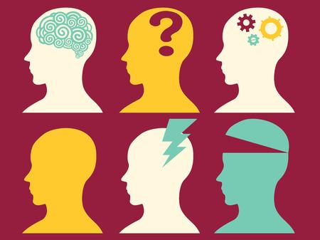 cognicion: Ilustraci�n de las siluetas que representan diversos estados mentales