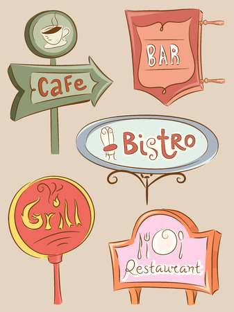establishments: Illustration of a Collection of Sign Boards for Different Food Establishments Stock Photo