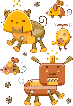 robotic: Illustration of Robotic Animals with a Steampunk Design Stock Photo