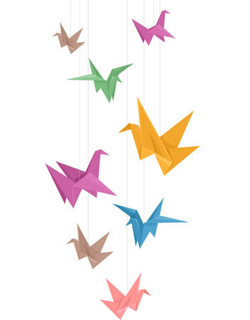 crane: Illustration of Paper Cranes of Different Colors Hanging from Strings Stock Photo