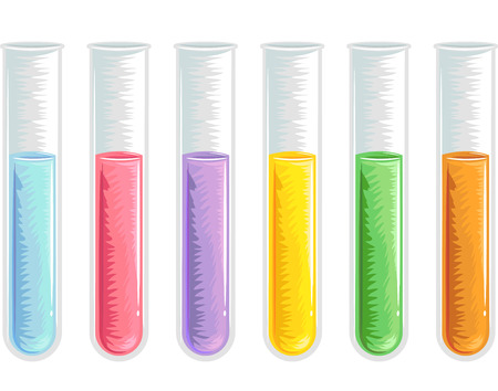 with liquids: Illustration of Test Tubes Filled with Liquids of Different Colors Stock Photo