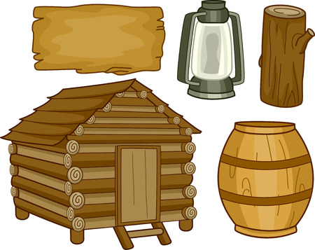 woody: Illustration of Different Elements Usually Found in a Log Cabin