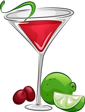 cranberries: Illustration of a Cosmopolitan Drink with Lime and Cranberries
