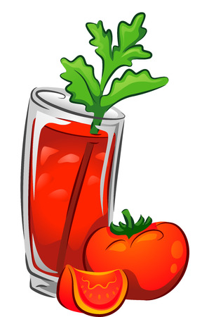 tomato cocktail: Illustration of a Bloody Mary Drink with Tomatoes Stock Photo