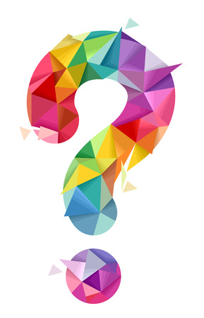 Illustration of a Colorful Abstract Question Mark Geometric Design Stock Photo