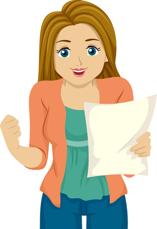 admission: Illustration of a Girl Happy with the Results on her Paper Stock Photo