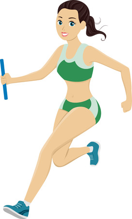 running race: Illustration of a Teen Girl Running in a Relay Race Stock Photo