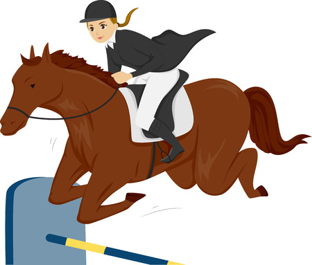salto de valla: Ilustración de una chica adolescente en un caballo que salta sobre una cerca Vertical