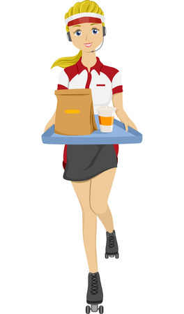 take out: Illustration of a Teen Girl on Skates holding Tray with Food for Take Out