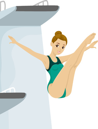 diving platform: Illustration of a Teen Girl in her Swimsuit Diving