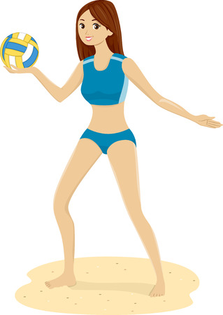 Illustration of a Teen Girl in the Beach holding a Volleyball illustration