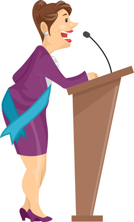 clipart speaker: Illustration of a Lady with Sash giving her Speech on a Lectern Stock Photo