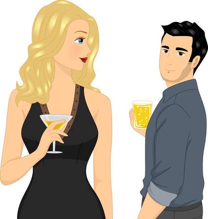 Illustration of a Man holding a Glass of Beer looking at a Girl holding a Cocktail Drink