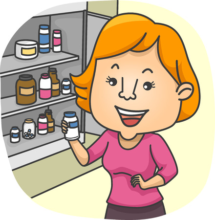 그들의 의학 캐비닛에서 의학 병을 검사하는 소녀의 그림