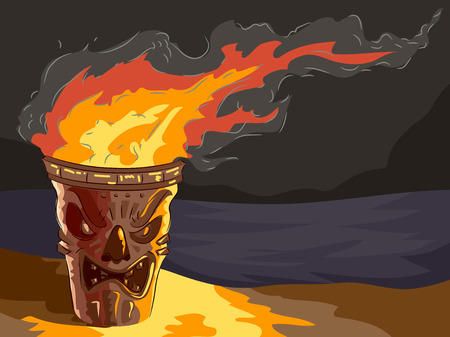 lighted: Illustration of a lighted Tiki themed Torch by the beach