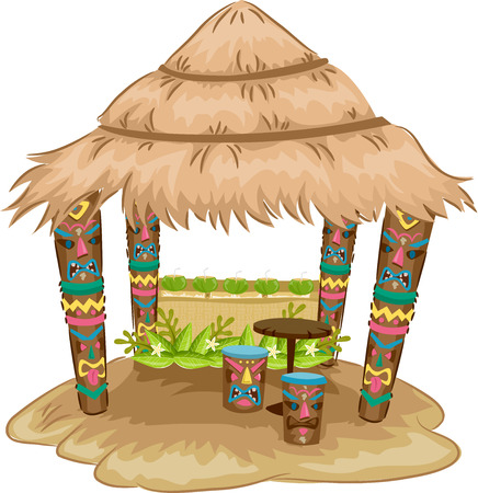 hut: Illustration of a Tiki-themed Hut with Tiki Face Stools and Support Posts