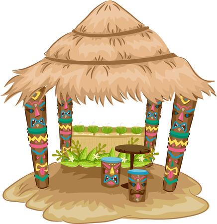 Ilustración de un Tiki Hut con temática Tiki Cara Bancos y Apoyo Mensajes Foto de archivo - 39941674
