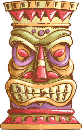 tiki head: An Illustration of an Ancient Tiki Head Design
